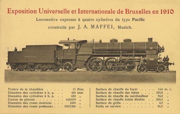 Karta techniczna parowozu z Expo w Brukseli – żródło: Wikipedia
